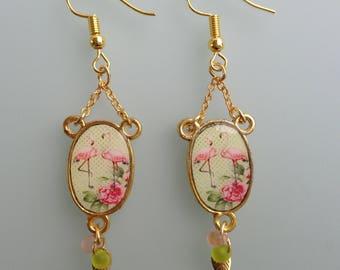 """Earrings """"Pink Flemish"""" - hoop earrings - dangling earrings."""