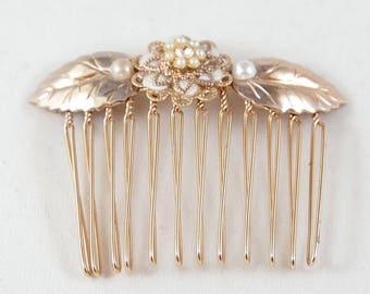 Rose Gold Hair Comb, Bridal Hair Comb, Wedding Hair Comb, Pink Gold Hair Comb, Bridesmaid Hair Comb, Bridal Decorative Comb, Rose Gold Comb
