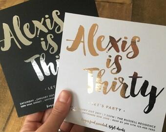 Foiled Black or White Birthday Invitation, Foil, White, Black, Rose Gold, Pink, Blue, Gold, Silver, Birthday Invite, Script, Square (Alexis)