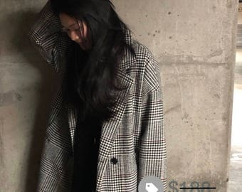 Oversized Longline Plaid Coat// Size S-L