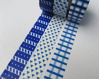 Blue Washi Tape Set - 3 Roll Offer on 3 15 x 10 metres rolls of Blue Masking Tape