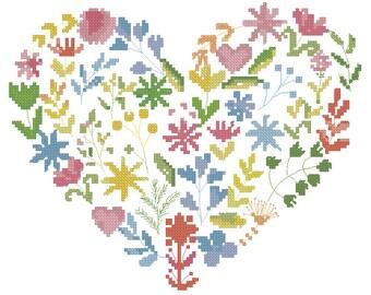 Buy 2 get 1 Free! Flower heart cross stitch pattern PDF, love heart pattern, pillow cross stitch pattern, modern embroidery