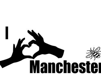 I Love Manchester banner or sticker with worker bee for walls, furniture, cars, windows etc in support of the we love Manchester fund