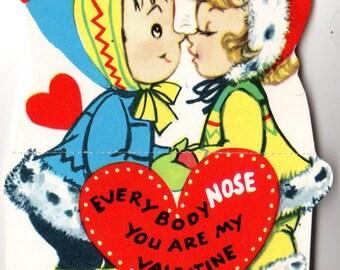 Vintage Girl Nose Kissing Die-Cut Children's Classroom Valentine's Day Card