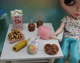 Handmade Miniature Carnival Food Set For Blythe And Dolls 1/6 Popcorn, Snowcone, Corndog, Pretzel, Cotton Candy, Curly Fries & Candy Apples