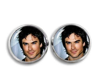 Ian Somerhalder Earrings Ian Somerhalder Stud Earrings 12mm Vampire Diaries Stud Earrings Damon Salvatore Fandom Jewelry