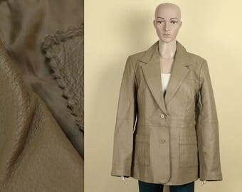Beige Leather Jacket Women's Leather Blazer Vintage Light Brown Leather Jacket Real Leather Jacket Genuine Leather Blazer Large/XL Size