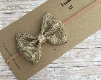 Jute headbands, jute bow in a headband, cream headbands, baby headbands, toddler headbands, jute bows, newborn headband,lace headbands, bows