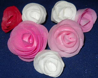 Wafer Paper Roses Edible Cake Decoration Cupcake/Cake Toppers in mixed pink and opal white Set of 7 Weddings Birthdays Showers Special Event