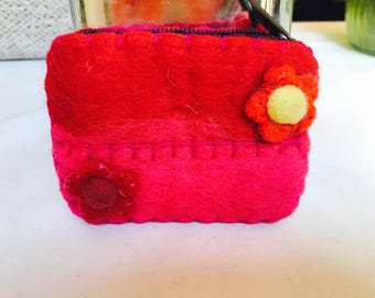 Red/pink small zipper coin purse. Gifts accessories .