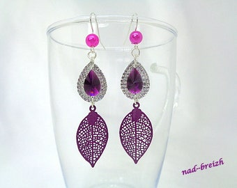 Earrings drop resin rhinestone, purple and silver fancy leaf filigree purple - hand made