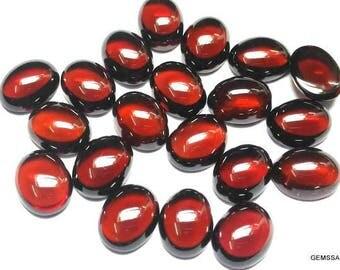 10 Pieces 6x8mm Red Garnet Cabochon Oval Gemstone, Natural red garnet Oval cabochon gemstone, red garnet cabochon oval gemstone