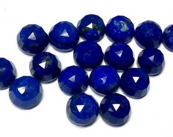 10 pcs 7mm Lapis Lazuli Round RoseCut gemstone, Lapis Lazuli Rose faceted Lapis Lazuli rose cut cabochon round, Lapis Lazuli rose cut round