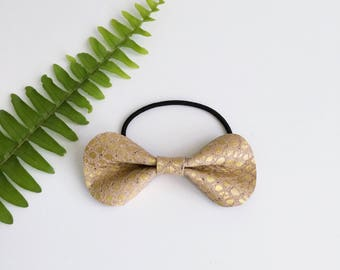 Fields of Hold Leather Pony Bow // Leather Bow // Gold Leather Bow