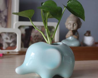 Blue elephant Planter, Ceramic, plant holder, cute, adorable, little