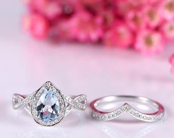 White gold aquamarine ring set natural aquamarine engagement ring 5x7mm pear cut birthstone V shape diamond wedding band wedding ring set
