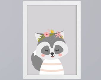 Raccoon with flower vine - unframed art print