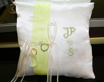 Pillow ring bearer personalized lime green and ivory
