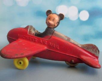 Vintage Mickey Mouse, Air Mail, Airplane, Sun Rubber Co, Collectible Disneyana, Farmhouse Décor, Nursery, Childrens Room, Shabby, 1930s