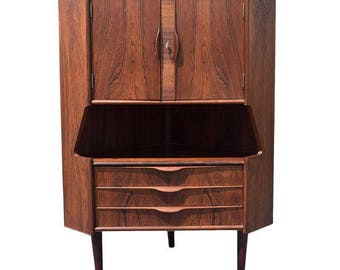 Vintage Danish Modern Rosewood Corner Cabinet Dry Bar