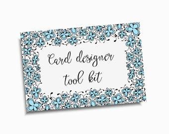 Card designer kit & Eszti Script font , floral frames, wreath, bonus divider, PNG files, Instant download