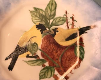 Gold finches on a blue rimmed plate