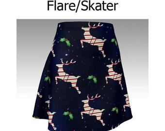 Christmas Skirt, Xmas Skirt, Reindeer Skirt, Blue Skirt, Candy Cane Stripes, Holly, Flare Skirt, Skater Skirt, Fitted Skirt, Bodycon Skirt