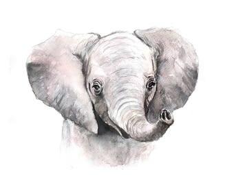 Baby Elephant Watercolor Print - Art print | Nursery Art | Safari Theme | Animal print