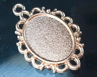 2 Scroll Bordered Oval Resin Bezels, 18x25mm Oval Cabochon Setting, Rose Gold Jewelry Pendant Settings Blanks,