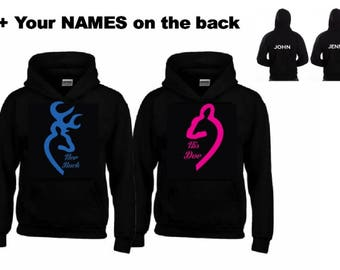 Her Buck - His Doe Hoodies + Your NAMES on the back