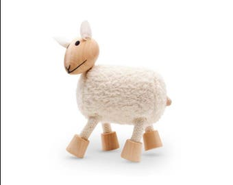 Sustainable wooden sheep toy