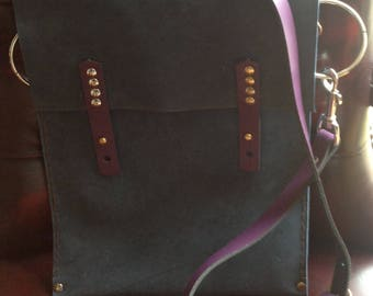 Nubuck Blue Leather Bag