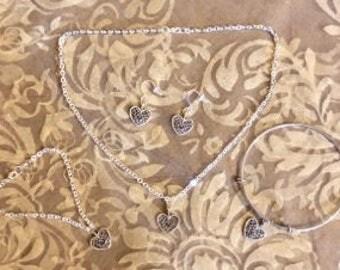 Silver Filled Heart Pendent/Bracelet/Earring Set(Sold Separately)