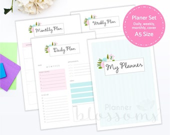 A5 Planner Insert Set, Printable. Daily planner, monthly planner, weekly planner. Pink floral planner binder inserts. Instant download. PDF