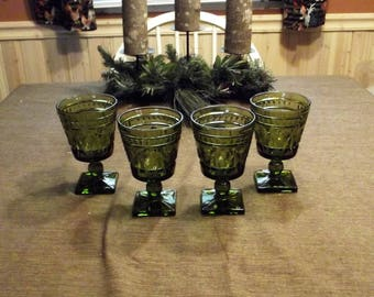 Colony *-* PARK LANE GREEN *-* Water Goblets, Set of 4