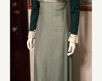 GOODBYE SUMMER SALE Vintage 1970's Gunne Sax Prairie Dress in Green Gingham Calico and Lace: Very Early, Rare Label! Boho