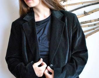 Black 90s womens coat 1990s 1980s vintage casual jacket