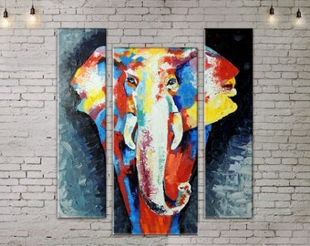 Art Print on Canvas, Large Wall Art , Colorful Elephant , Canvas Art, Interior Art, Living Room Painting