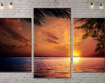 Seascape, Extra Large Wall Art, Beach Wall Art, Palms, Sea Painting,  Large Canvas art, Interior Art, Living Room Wall Decor, Photo gift