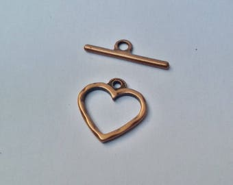 Heart 20 mm antique copper toggle clasp