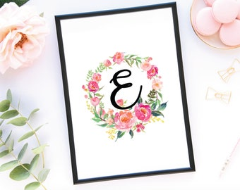 Custom Letter Watercolor Flower Wall Print, Floral Wall Art, Flower Print, Printed Wall Art, Peony Wall Art
