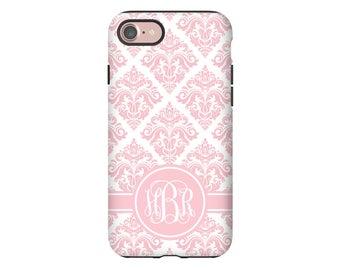 Monogram iPhone 8 case, pink damask iPhone 8 Plus case, iPhone X case, iPhone 7/7 Plus case, girls iPhone case, iPhone 6s Plus case/6s case