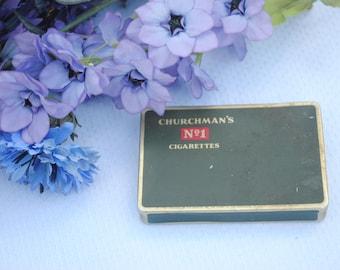 Old Cigarette Vintage Tobacciana Tin BOX Churchman's No 1 Cigarettes Tobacco