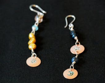 Hand Stamped Extra Long Night and Day Earrings. Copper and silver, Stirling silver wires, handmade.