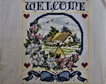 Welcome Finished Cross Stitch