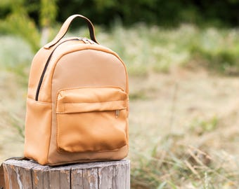 Urban vegan backpack Light brown faux leather backpack Women backpack Girls backpack Vegan backpack purse Mustard backpack Gift for her