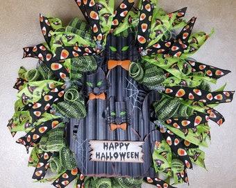 Black Cats Wreath, Halloween Wreath, Happy Halloween Wreath, Front Door Wreath, Halloween Decor