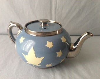 Vintage Gibsons Staffordshire England Blue and Silver Teapot with Cream Maple Leaves.