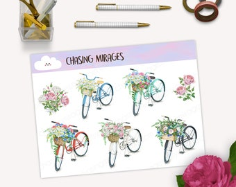 D105 | Floral bullet journal sticker | Vintage floral sticker | Pink floral sticker | Floral deco bullet journal sticker