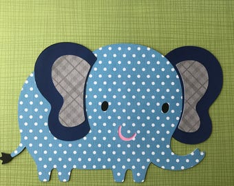 Polka dots Blue elephant die cut , big blue elephant,